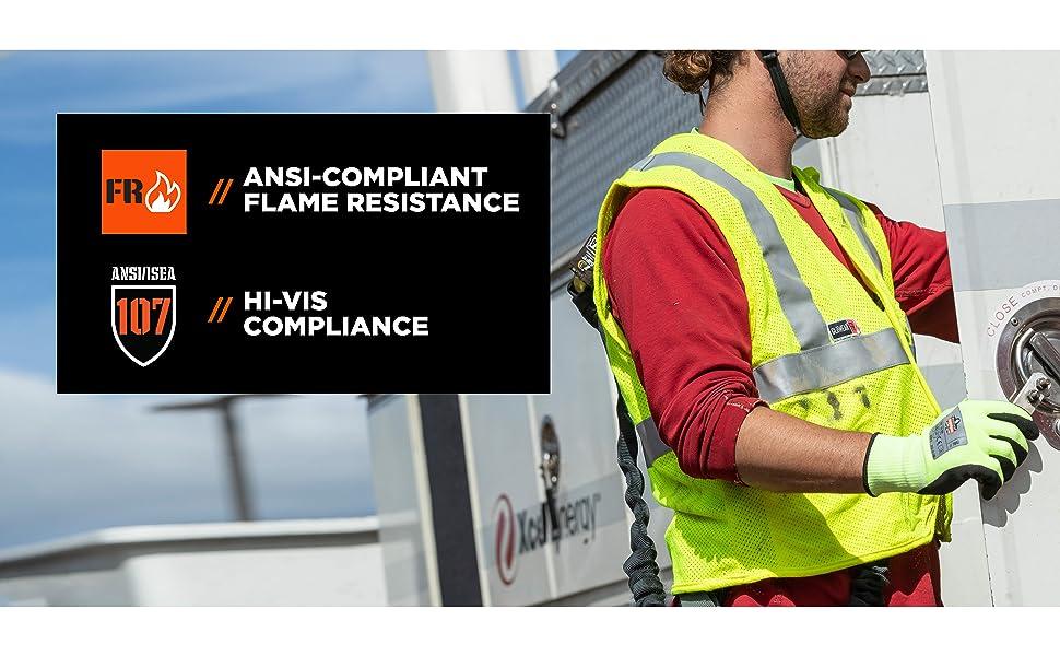 ansi-compliant flame resistance, hi-vis compliance