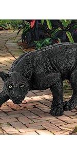 black panther jaguar cougar animal garden statue big cat decor