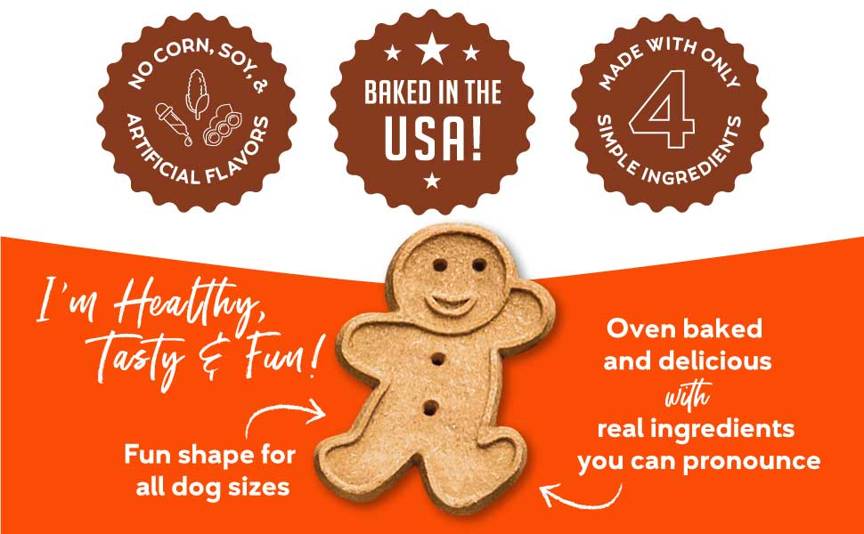 buddy peanut butter flavor delicious taste gingerbread man biscuits cookie reward healthy all breeds