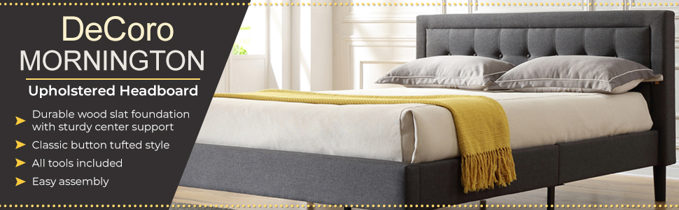 Mornington Upholstered Platform Bed   Headboard and Metal Frame with Wood Slat Support