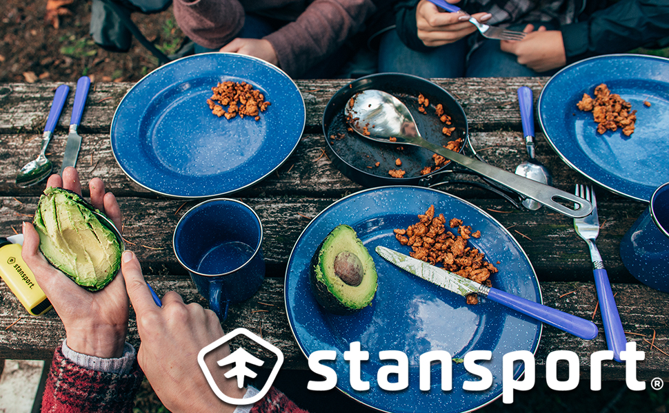 stansport camping tableware cooking eating dinner breakfast