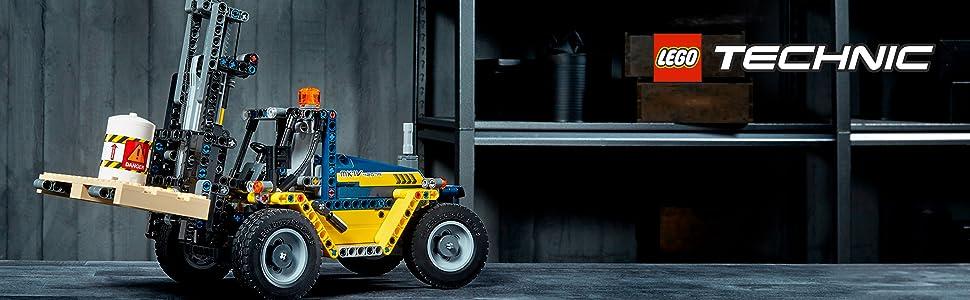 driver cab;engine cylinder;forklift truck;forklift;forks;pallet;piston engine; barrel