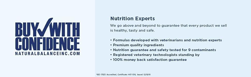 Natural Balance testing premium quality ingredients