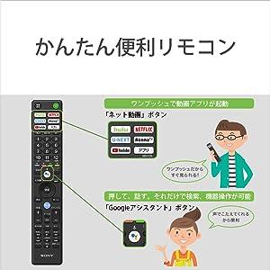 「ネット動画」ボタンをワンプッシュで動画アプリ起動。テレビ番組を見ながら、シームレスにネット動画に移動できる。リモコンの「 Google アシスタント」ボタンを押して、話すだけで見たいものを検索できる