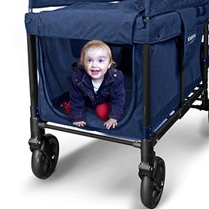 Wonderfold Wagon W4 Push Multi-Function 4 Passenger Quad Folding Stroller Blue