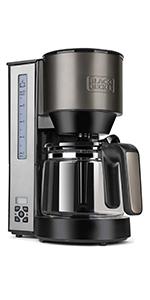 Black+Decker BXCO1000E Cafetera de goteo, 1000 W, 1.25 litros, Acero Inoxidable