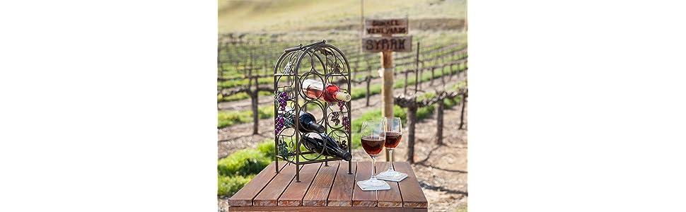 Racks & Holders Retro...country..wine Bottle Carrier..black Metal..with Grapes Design..wine Kitchen Storage & Organization