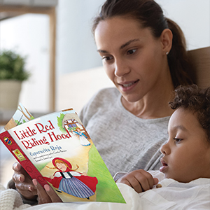 A mother reading a keepsake story to her child