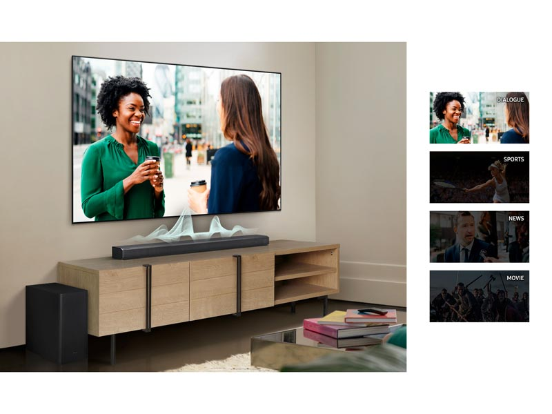 The soundbar adjusting the volume for dialogue, sports, news and movies