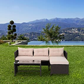 Rattan lounge set  Amazon.com: Outsunny 3-Piece Outdoor Rattan Wicker Sofa and Chaise ...