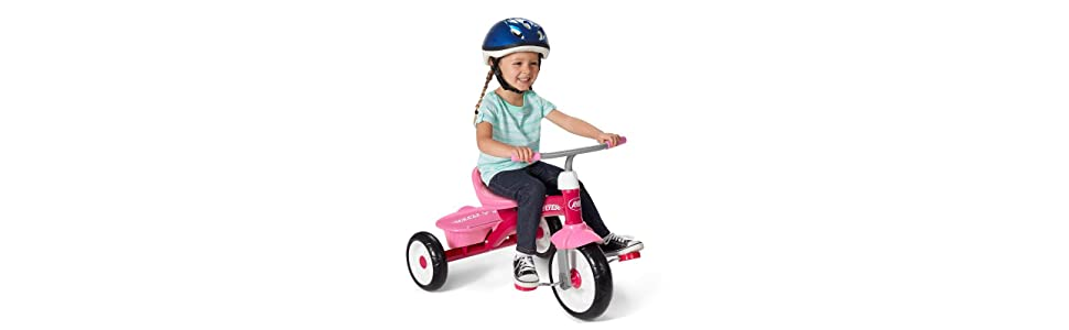Rider Trike Ride On Covered storage bin for child fun ages 2 1//2-5 years Pink