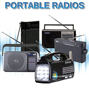 QFX Portable Battery Powered Radio Flashlight Compact AM/FM
