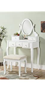 Amazon Com Roundhill Furniture Sanlo Wooden Vanity Make Up Table And Stool Set White