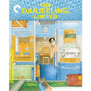 Darjeeling Limited box art - an illustration with the main characters in their train car