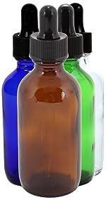 Assorted color 2oz glass dropper bottles