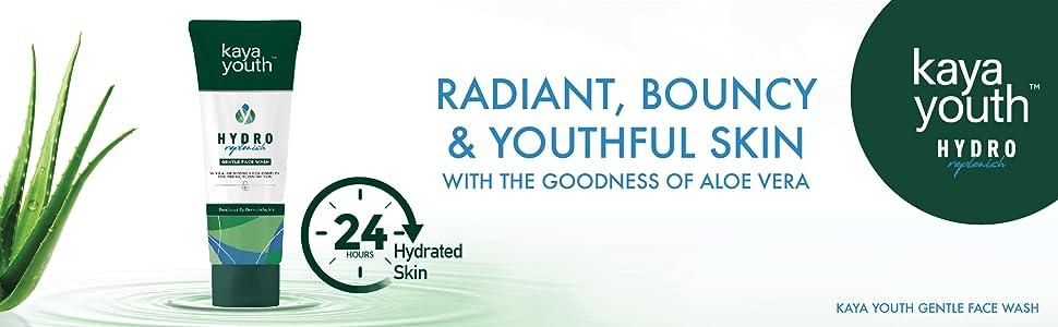 face wash;aloe vera;hydration;radiance;24 hours;replenish;dermatologists;skin science;kaya youth