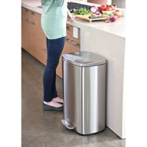 Stainless steel trash can garbage bin recycle compost rubbish wastebasket