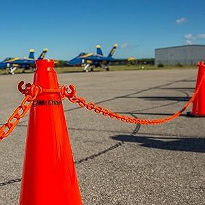Safety Orange 100-Foot Length 2-Inch Link Diameter Mr 51112 Chain Heavy Duty Plastic Barrier Chain Reel