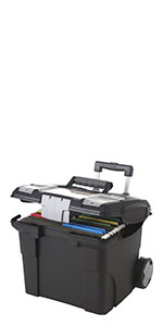Deluxe Portable File Box with Wheels