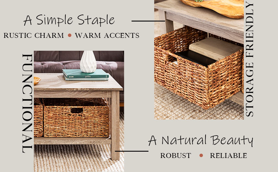 Rustic Wood Rectangle Coffee Accent Table Storage Baskets Living Room, 40 Inch