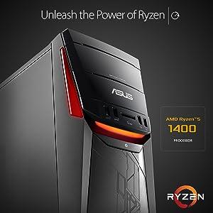 ASUS G11DF-DBR5-GTX1060 Desktop PC, AMD Ryzen 5 Processor, GTX 1060 6GB,  8GB RAM, 256GB SSD + 1TB HDD, USB-C, DVD-RW, 802 11ac, Win 10