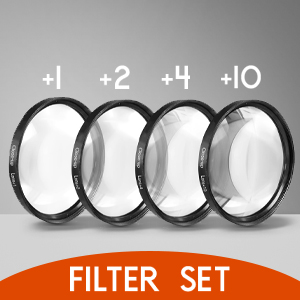 Magnification Kit with Deluxe Case and Miracle Fiber Cloth Set +1, +2, +4 and +10 Diopters Metal Rim Zeikos 52mm 4 piece high definition Close-Up filter