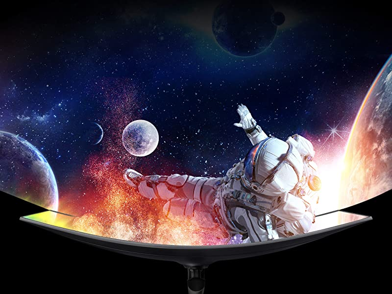 Top-down view of the Samsung CRG9 Gaming Monitor, showing the curve