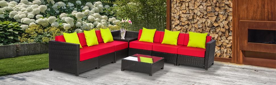 Amazon.com: MCombo - Juego de 7 piezas de sofá de lujo para ...