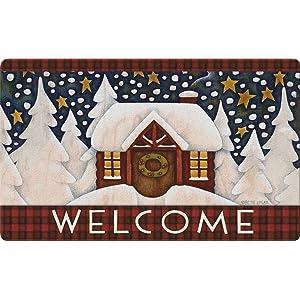 welcome;winter;snow;snowy;scene;snowflake;holiday;christmas;greeting;plaid;lodge