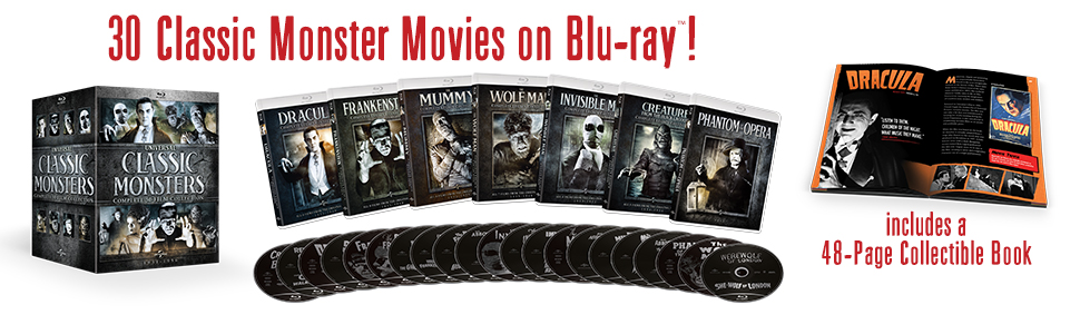 universal monsters, classic monsters, collection, blu-ray, box set, dracula, mummy, gift set, movies