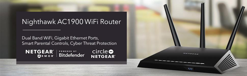 NETGEAR Nighthawk Smart WiFi Router (R6900P) - AC1900