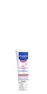 Bottle of gentle daily face cream, absorbs easily, lotion helps protect and hydrate sensitive skin
