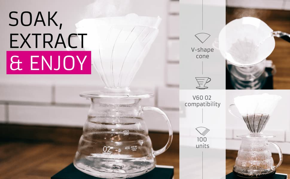 Hario V60 Dripper Coffee Paper Filters Pack of 100 Natural Size 02-100pcs