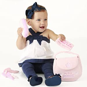 my first purse plush stuffed safe gift baby newborn keys credit card cell phone gund girl pink