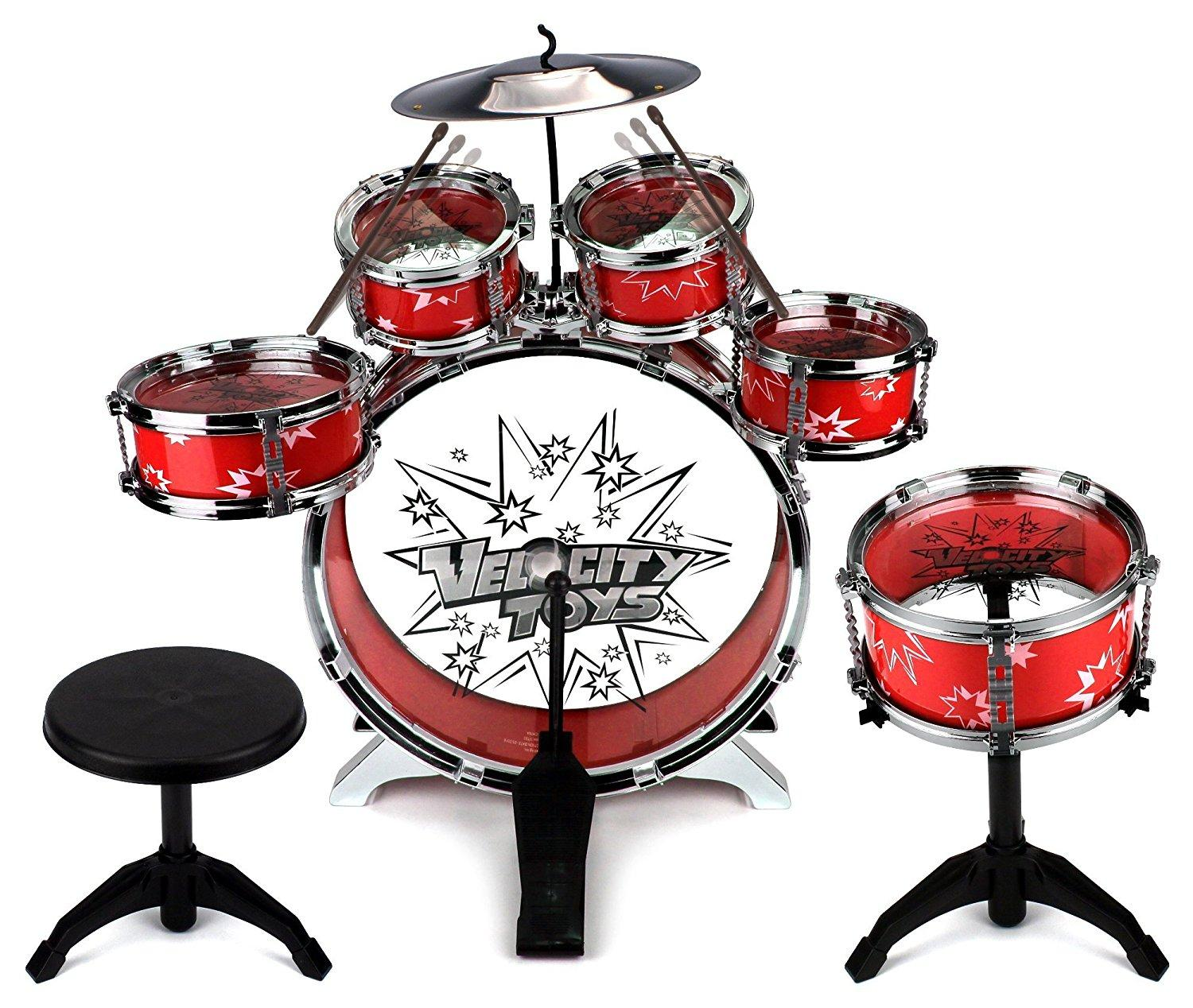 velocity toys 11 piece children 39 s kid 39 s musical instrument drum play set w 6 drums. Black Bedroom Furniture Sets. Home Design Ideas