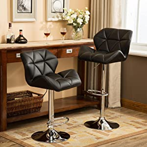 Super Roundhill Furniture Glasgow Contemporary Tufted Adjustable Height Hydraulic Black Bar Stools Set Of 2 Andrewgaddart Wooden Chair Designs For Living Room Andrewgaddartcom