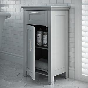 gray single door floor cabinet