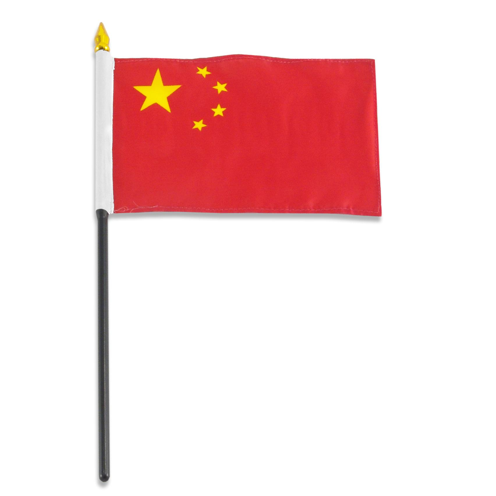 """CANADA /& CHINA 4/"""" X 6/"""" DOUBLE STICK FLAG WITH BLACK STAND ON 10/"""" PLASTIC POLE"""