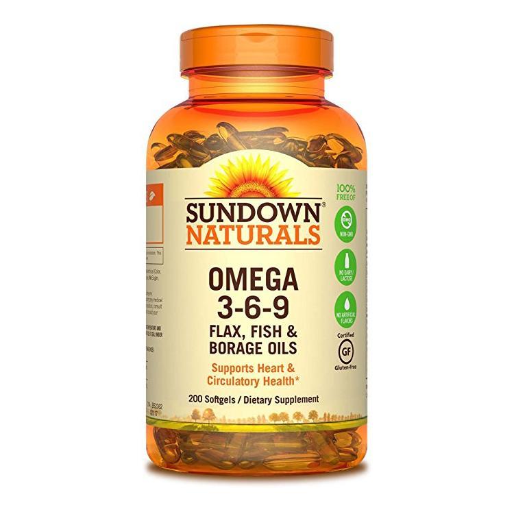 Sundown naturals triple omega 3 6 9 200 softgels amazon for Fish flax and borage oil