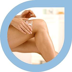woman applying Amlactin Rapid Relief lotion to leg