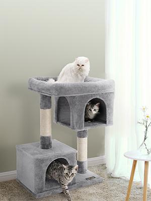 Amazon.com: FEANDREA Árbol para gatos grandes, 2 condominios ...