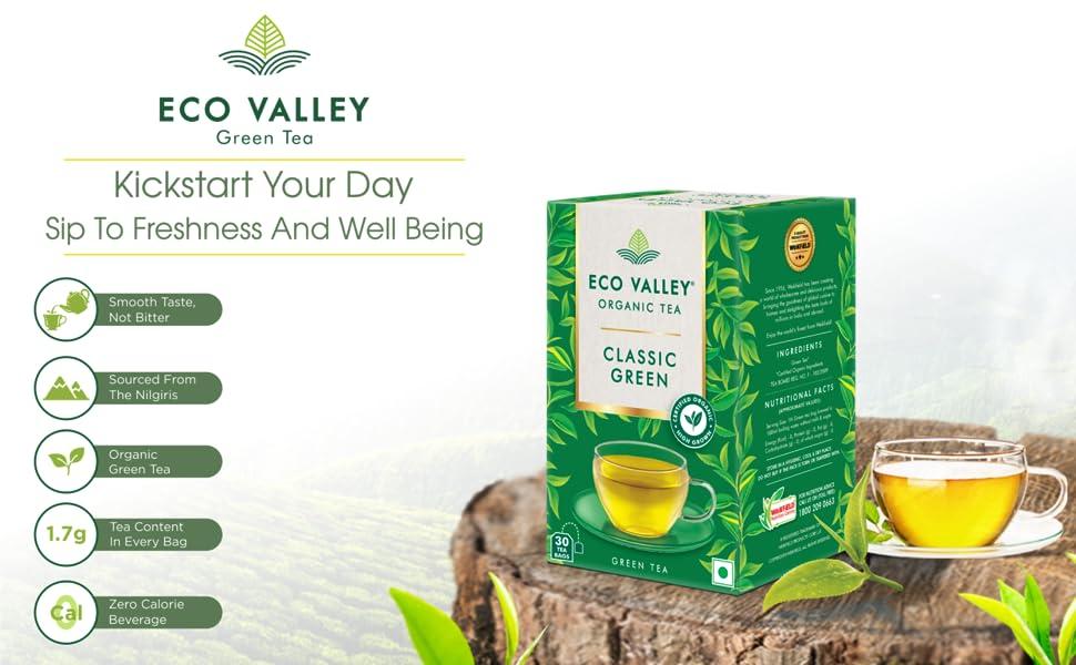 Eco Valley Organic Green Tea, Pure Green, 30 Tea Bags SPN-FOR1