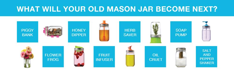 Jarware Mason Ball Jar Drink Lid Canning Kerr Cuppow Honey Dipper Juicer