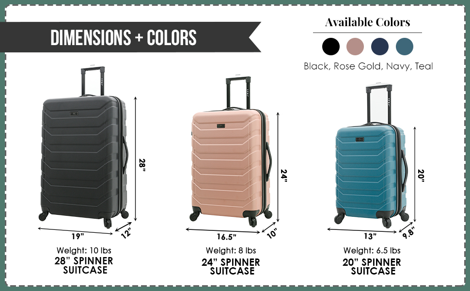 madison heights collection, 3 piece, 2 piece, check in luggage, carry on, suitcase, spinner wheels