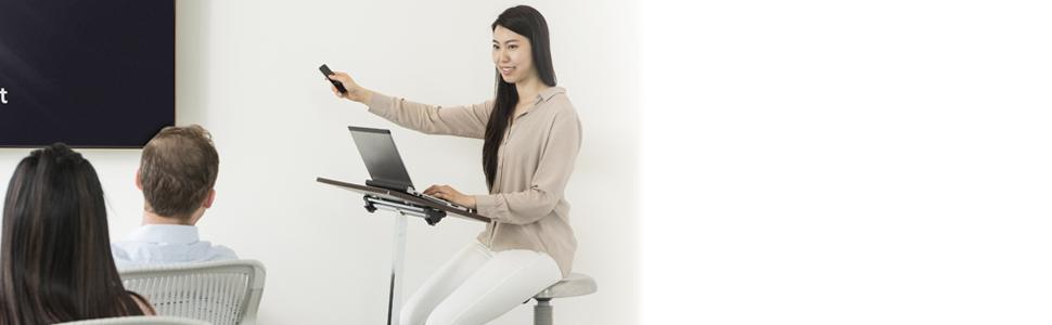 sevilleclassics sit stand standing up height adjustable desk top table tilt angle stopper walnut