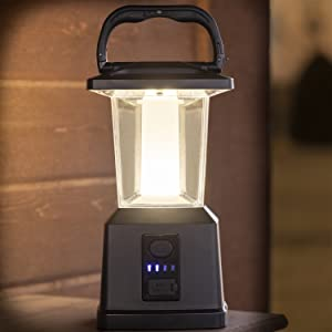 """Enbrighten LED Rechargeable Lantern 43934 Emergency Weather 4400mAh Outdoor 405 Hours of Run Time Ideal for Camping 11/"""" Black USB Power Bank Storms Dimmable 650 Lumens"""