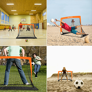 "Dimples Excel Portable Soccer Goal with Fiber Glass Pole, Instant Set-Up,  Easy Fold-Up, 40""x29""x30"" , Set of 2"