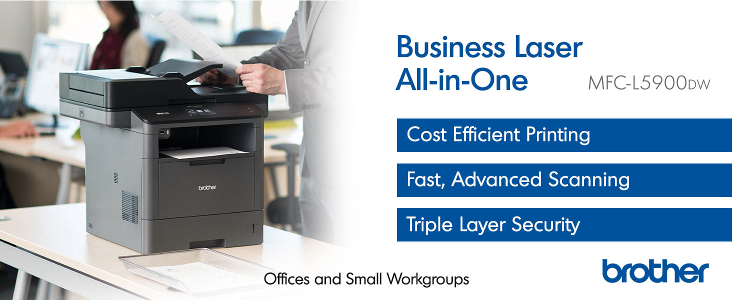 Amazon.com: Brother Monochrome Laser Printer, Multifunction Printer,  All-in-One Printer, MFC-L5900DW, Wireless Networking, Mobile Printing &  Scanning, Duplex Print, Copy & Scan, Amazon Dash Replenishment Ready:  Electronics