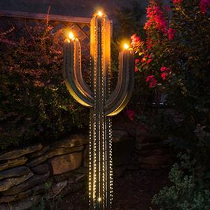 Desert Steel Saguaro Cactus - Steel Art Torch – Stands 6 5 Ft  Tall
