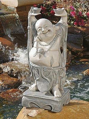 Amazon Com Design Toscano Ky356 Jolly Hotei Laughing Buddha Asian Decor Garden Statue 25 Inch Two Tone Stone Outdoor Statues Garden Outdoor
